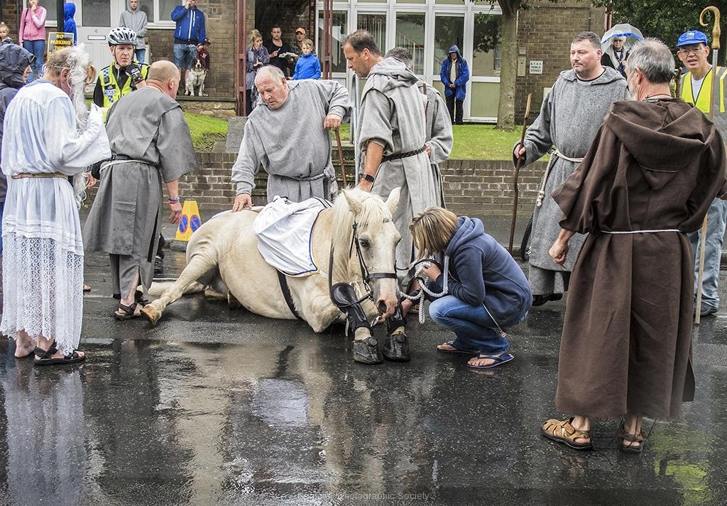 Horse Slips Down at Ripon Parade by Bob Harper