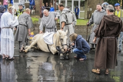 Horse Slips Down at Ripon Parade by Bob Harper