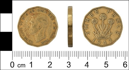 1942 Three Pence Piece by Phil Holmes