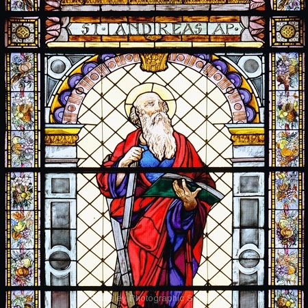 Stained Glass Window, Basilque Notre Dame, Nice France by Jeff Moore