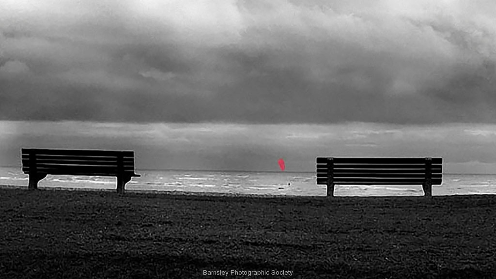 Two benches and a kite