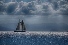 BOAT IN AEGAEN SEA